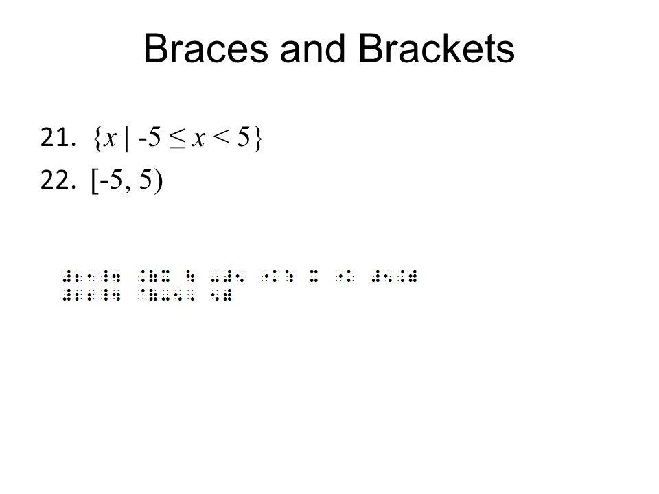 Braces and Brackets {x | -5 ≤ x < 5} [-5, 5)